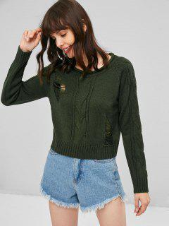 Ripped Cable Knit Sweater - Army Green