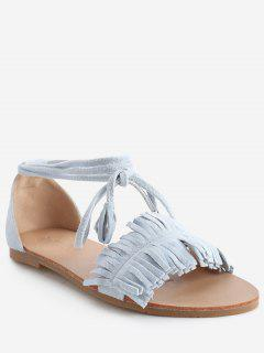 Bohemia Vacation Lace Up Flat Heel Sandals - Light Sky Blue 40