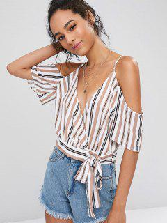 Striped Cold Shoulder Wrap Crop Top - Multi L