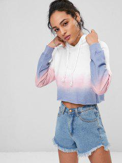 Ombre Colored Cropped Hoodie - Weiß M