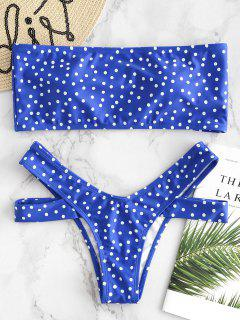 Polka Dot Bandeau Cut Out Bikini - Blue M
