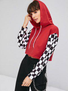 Checkered Sleeve Pullover Cropped Hoodie - Lava Red M
