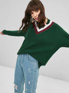 Contrast Ripped Sweater - Deep Green