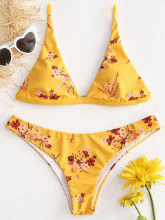 Ensemble Bikini à Taille Basse Motif Fleurs De Prunier  - Jaune Canard Caoutchouc S