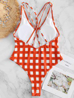 Gingham Caged High Cut Swimsuit - Bright Orange L