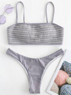 Smocked High Cut Bikini Set - Battleship Gray M