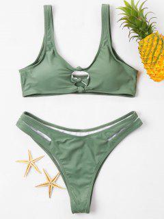 Knoten Ausgeschnittenes Plunge Bikini Set - Rehbraunes Grün M