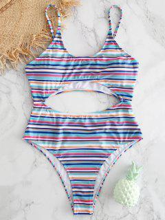 Colorful Stripe Cut Out Swimsuit - Multi S