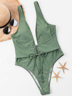 Plunge Lace-up High Cut Swimsuit - Hazel Green L