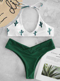 Bikini En Ensemble Taille Haute Et à Imprimé Cactus  - Blanc S