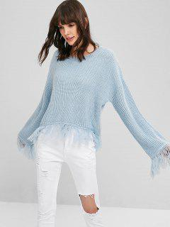 Fringed Chunky Knit Sweater - Sea Blue
