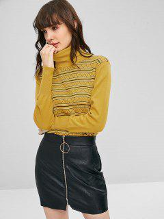 Stripes Zig Zag Turtleneck Sweater - Golden Brown M