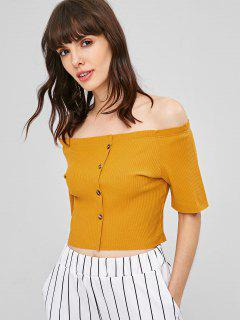 Ribbed Off Shoulder Cropped Top - School Bus Yellow M