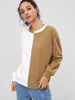 Loose Two Tone Sweatshirt - Caramel M