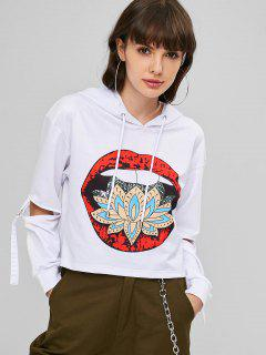 Cutout Sleeves Graphic Cropped Hoodie - White S