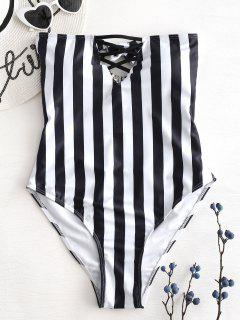 Striped High Cut Tube Swimsuit - Black M