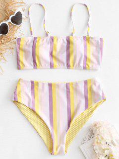 Striped High Waisted Bikini Set - Multi S