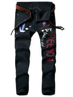 Splited Leaf Letter Patriotic American Flag Printed Straight Jeans - Black 36