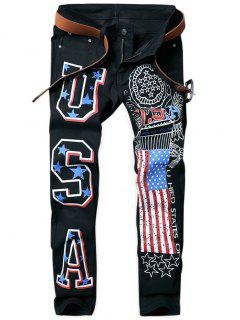 Letter American Flag Printed Tapered Jeans - Black 34