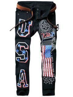 Pantalones Vaqueros Cónicos Estampados De La Bandera Americana - Negro 36