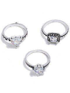 Conjunto De Anillo De Diamantes De Imitación Retro En Forma De Corazón - Plata