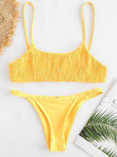 Smocked Bralette Bikini Set - Helles Gelb M