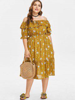 Blumen Schulterfreies Übergröße Kleid - Senf 4x