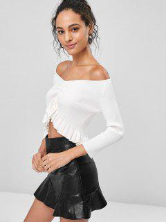Ribbed Soft Peplum Pullover Sweater - White S