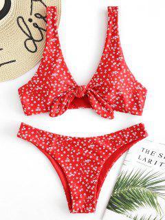 Bikini Con Nudo De Cintura Baja Floral - Rojo De Camión De Bomberos S