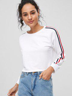 Striped Raglan Sleeve Cropped Sweatshirt - White M