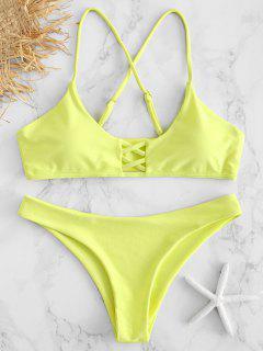 Cross Strap Lattice Bikini Set - Yellow S