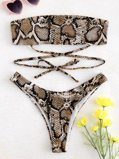 Schlange Druck Riemchen Bandeau Bikini - Orange Gold S