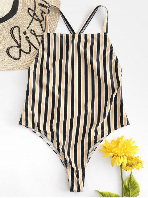 fancy Unlined Striped One Piece Swimsuit - YELLOW S Mobile