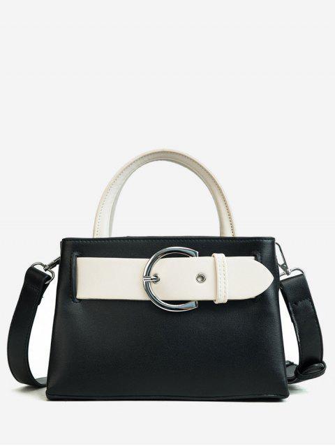 Kontrastfarbene minimalistische verzierte Handtasche - Schwarz  Mobile