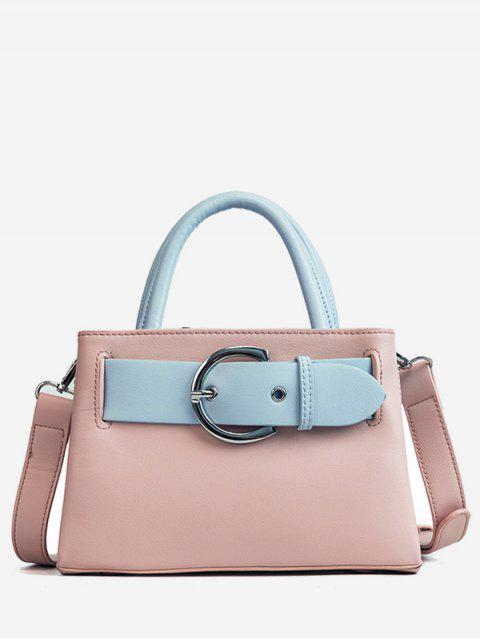lady Contrasting Color Minimalist Buckled Embellished Handbag - LIGHT PINK  Mobile