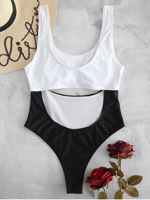 outfits Color Block Cut Out Swimsuit - MULTI L Mobile