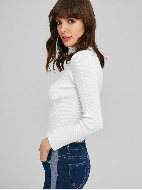 ladies Ribbed Mock Neck Sweater - MILK WHITE ONE SIZE Mobile