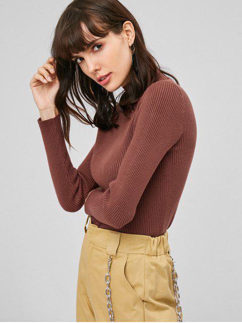 Gerippter Stehkragen Pullover - Blutrot Eine Größe Mobile