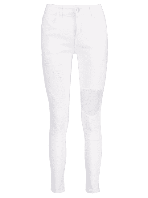 Pantalones vaqueros rasgados de mediana altura - Blanco M Mobile