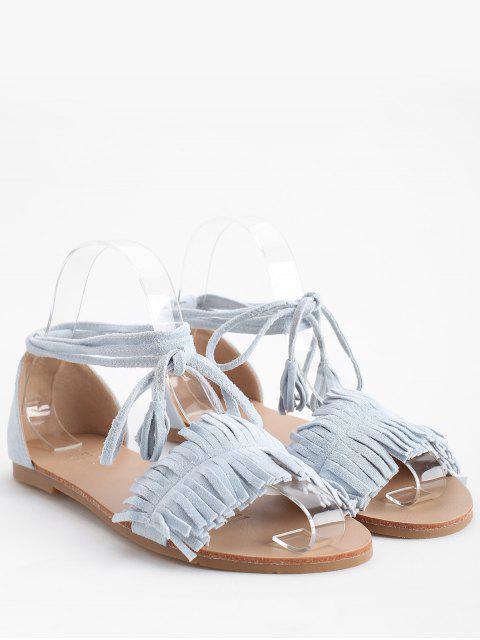 Sandales de Vacances Bohémiennes à Talon Plat à Lacets - Bleu Ciel Léger  39 Mobile