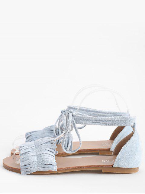fashion Bohemia Vacation Lace Up Flat Heel Sandals - LIGHT SKY BLUE 38 Mobile