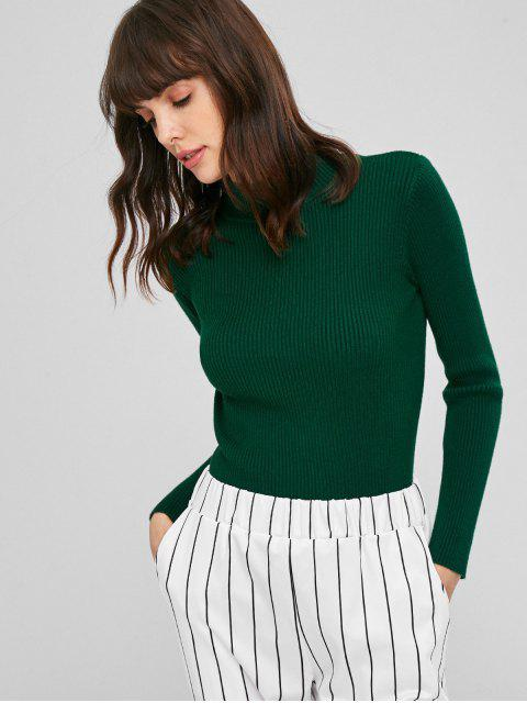 online Ribbed Mock Neck Sweater - DEEP GREEN ONE SIZE Mobile