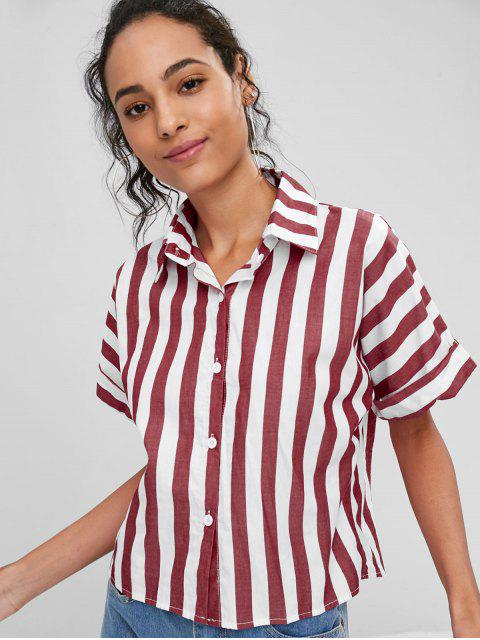 fashion Raglan Sleeve Striped Shirt - CHERRY RED M Mobile
