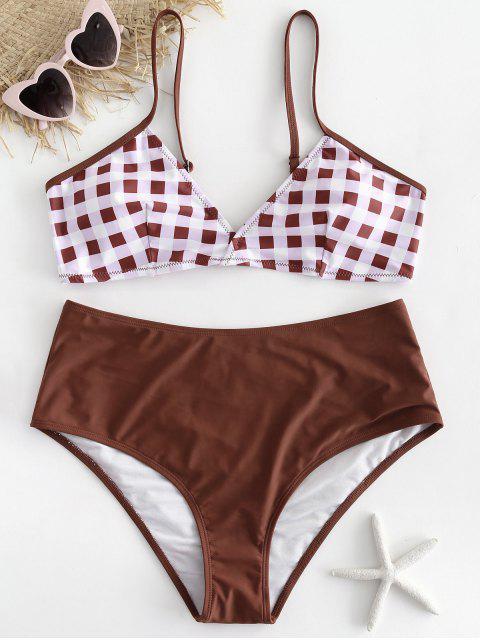 sale Plus Size Checked Bikini Set - CHESTNUT RED 3X Mobile