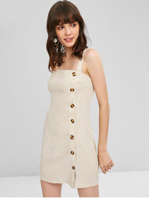 sale Button Up Gingham Short Dress - BLANCHED ALMOND S Mobile