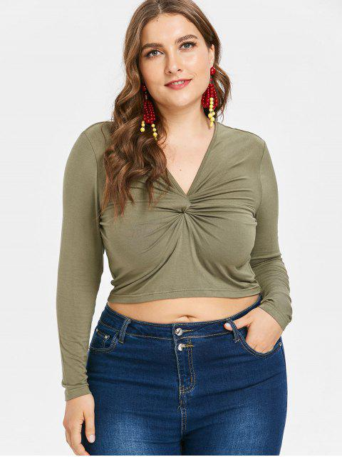 lady Plus Size Cropped Twist Top - ARMY GREEN 3X Mobile