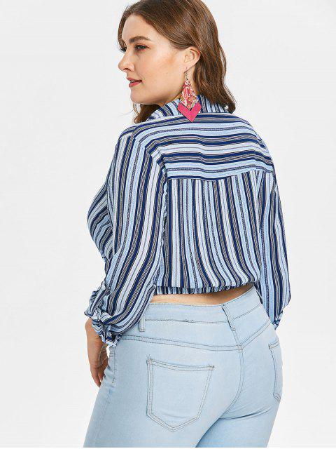 hot Plus Size Striped Twist Crop Blouse - EARTH BLUE L Mobile