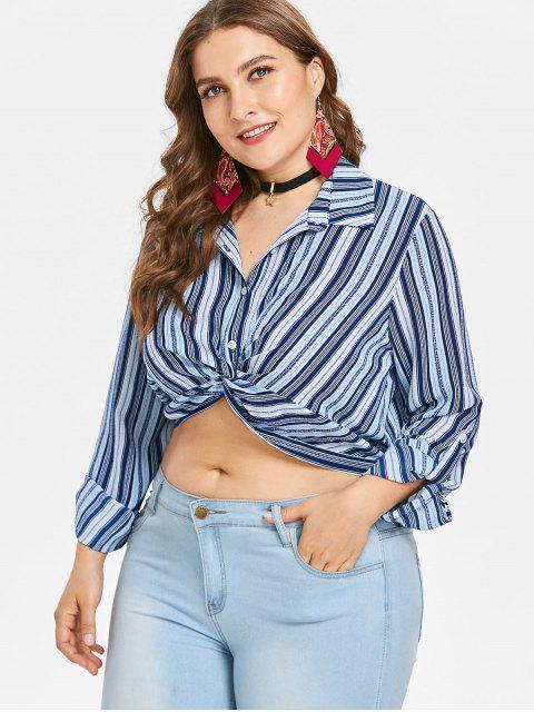 shop Plus Size Striped Twist Crop Blouse - EARTH BLUE 3X Mobile