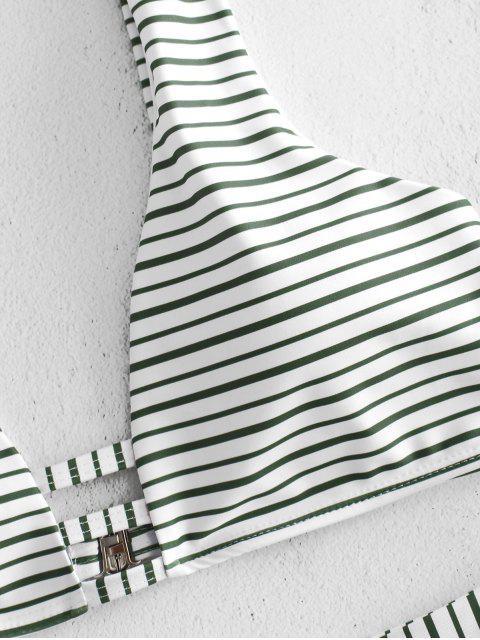 womens High Cut Striped High Waisted Bikini Set - DEEP GREEN L Mobile