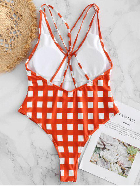 buy Gingham Caged High Cut Swimsuit - BRIGHT ORANGE S Mobile